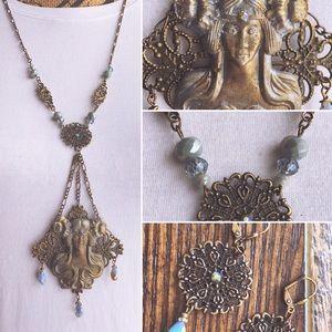 Jewelry - Bronze & Blue Handmade Art Nouveau Resin Maiden